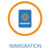 Image of a passport in a circle on the Executive Relocations website.