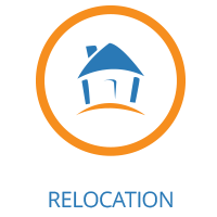 Home image icon representing international relocation.
