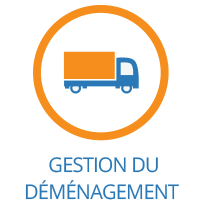 'Gestion du Demenagement' image with Truck in a circle on the Executive Relocations website.