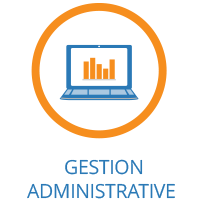 Laptop computer image in a circle icon with words 'Gestion Administrative' on the Executive Relocations website.